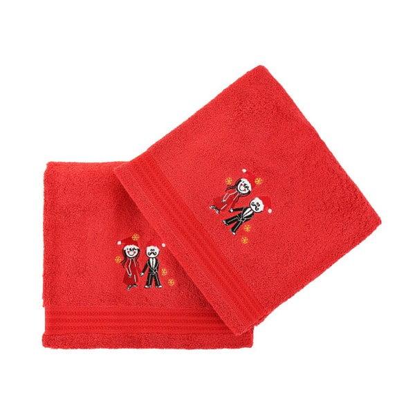 Sada 2 červených vianočných uterákov Winter Love, 70x140 cm