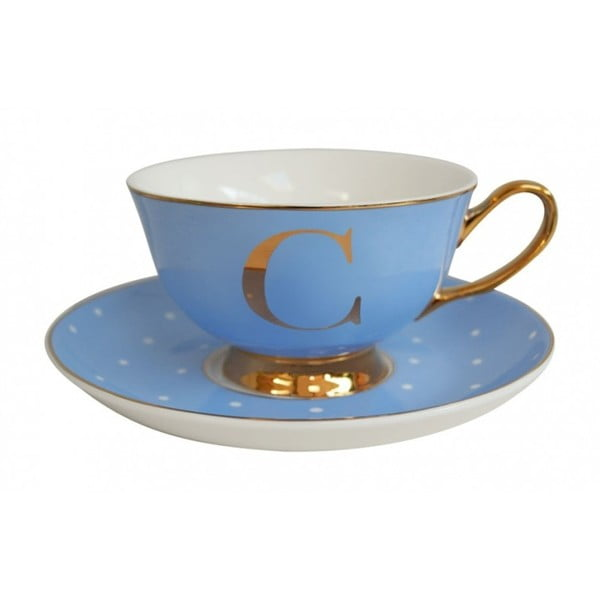 Modrý   hrnek a podšálek s písmenem C Bombay Duck