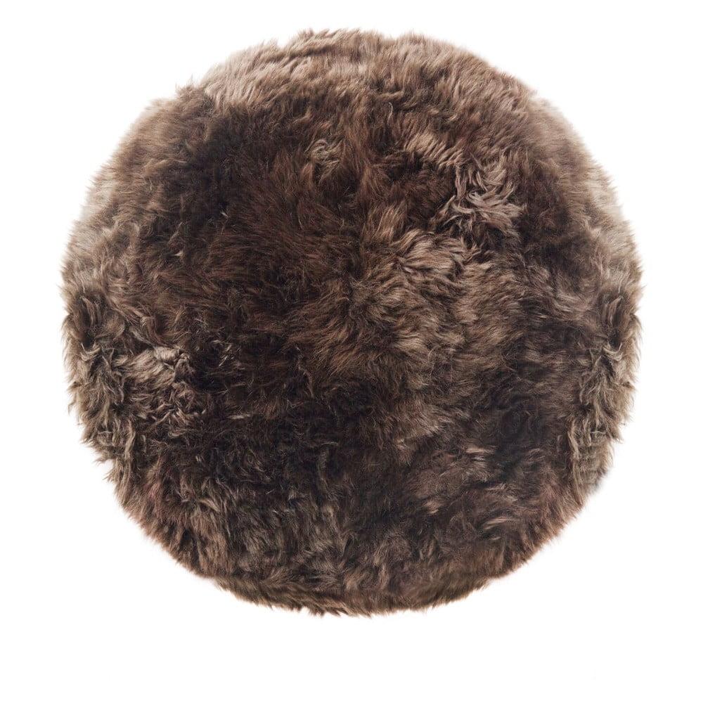 Hnědý koberec z ovčí kožešiny Royal Dream Zealand, ⌀ 70 cm