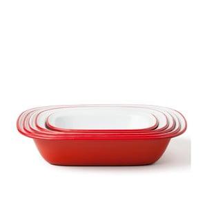 Sada 5 červených smaltovaných forem na koláč Falcon Enamelware Family