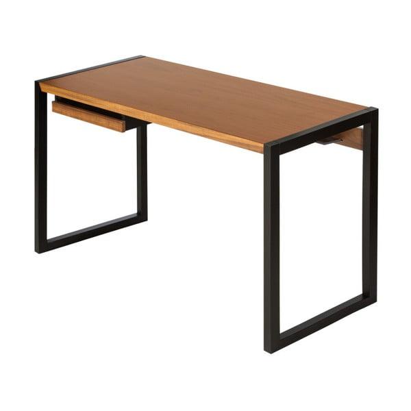 Pracovní stůl v ořechovém dekoru s černými nohami We47 Renfrew, 126x55cm