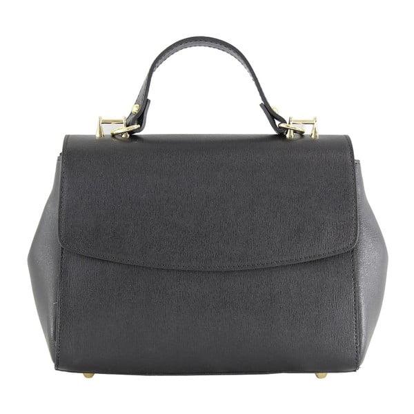 Černá kožená kabelka Chicca Borse Ashlee