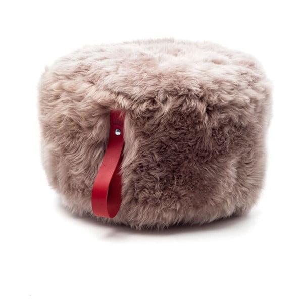 Hnědý puf z ovčí kožešiny s červeným detailem Royal Dream,Ø60cm