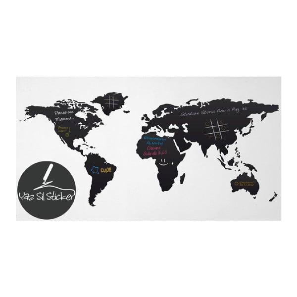 Černá nástěnná tabulová samolepka Homemania World