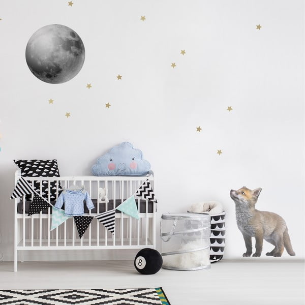 Set autocolante pentru perete Dekornik Little Fox And His Friend The Moon