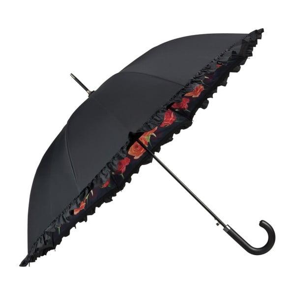 Čierny dáždnik s rúčkou s dvojitou vrstvou Von Lilienfeld Bouquet of Roses Double Layer