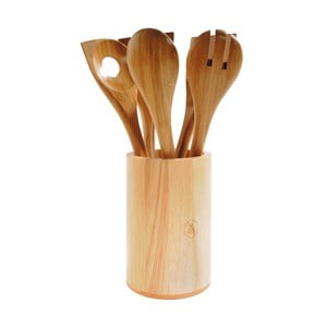 Set 5 ustensile de bucătărie și suport din lemn Laguiole Iréné