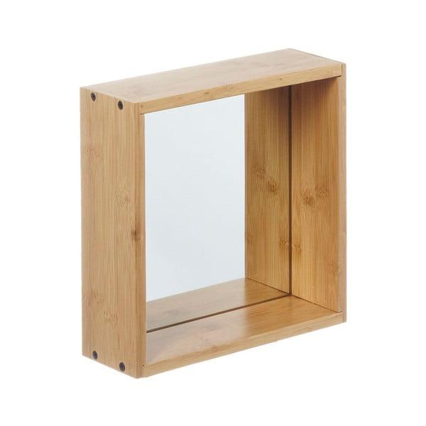 Oglindă de perete cu ramă din lemn de bambus Furniteam Design, 26 x 26 cm