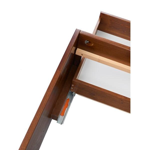 Dvoulůžková postel z masivního borovicového dřeva SKANDICA Magnus Dark, 160 x 200 cm