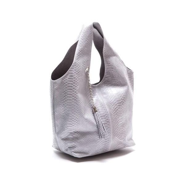 Stříbrná kožená kabelka Luka