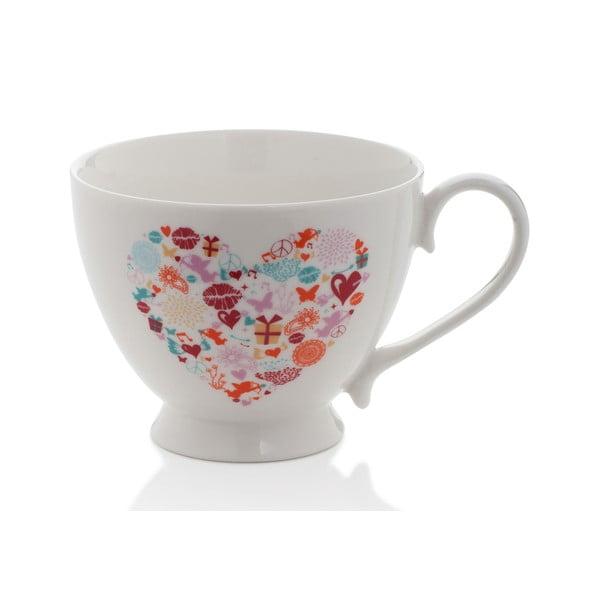 Hrnček z kostného porcelánu Sabichi Heart, 420 ml