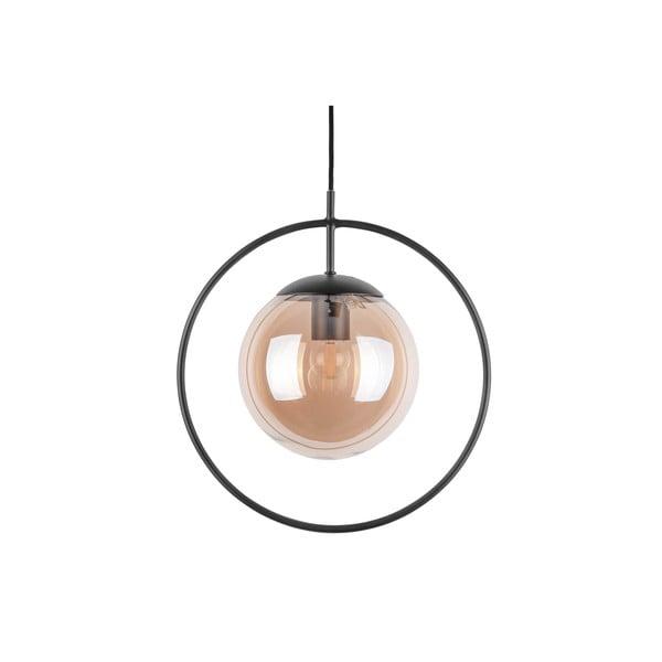 Hnědo-černé závěsné svítidlo Leitmotiv Round, výška 38cm