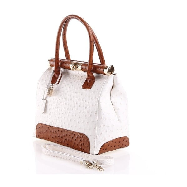 Kožená kabelka Rosalind, bílá/hnědá