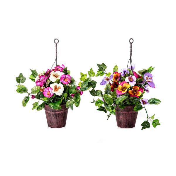 Set 2 plante artificiale în ghiveci Unimasa Pensamie