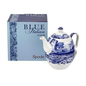Bílomodrá porcelánová konvička s hrnečkem na čaj Spode Blue Italian, 450 ml
