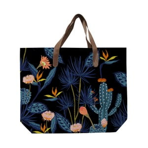 Černá plátěná taška s potiskem Surdic Cactus