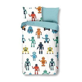 Lenjerie de pat din bumbac pentru copii Good Morning Robots, 140 x 200 cm imagine