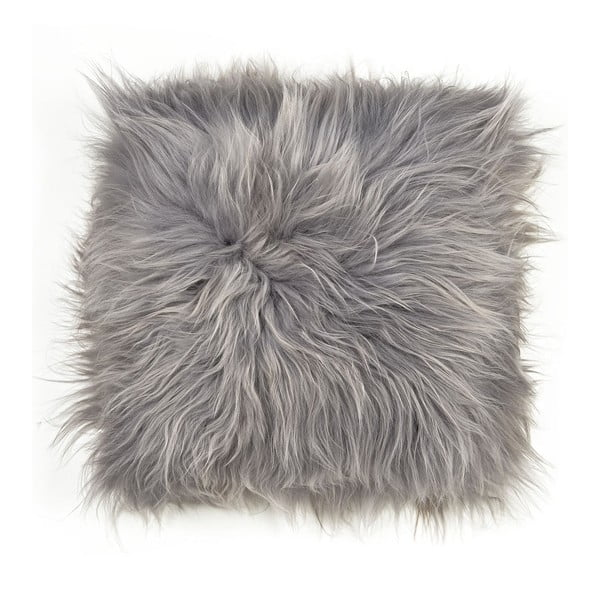 Pernă din blană cu fir lung pentru scaun Grey, 37 x 37 cm
