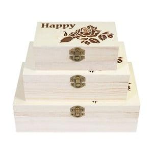 Sada 3 dřevěných boxů Mendler Shabby Happy