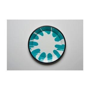 Tyrkysovobílý smaltovaný talíř Kapka Little Color, Ø24,5cm