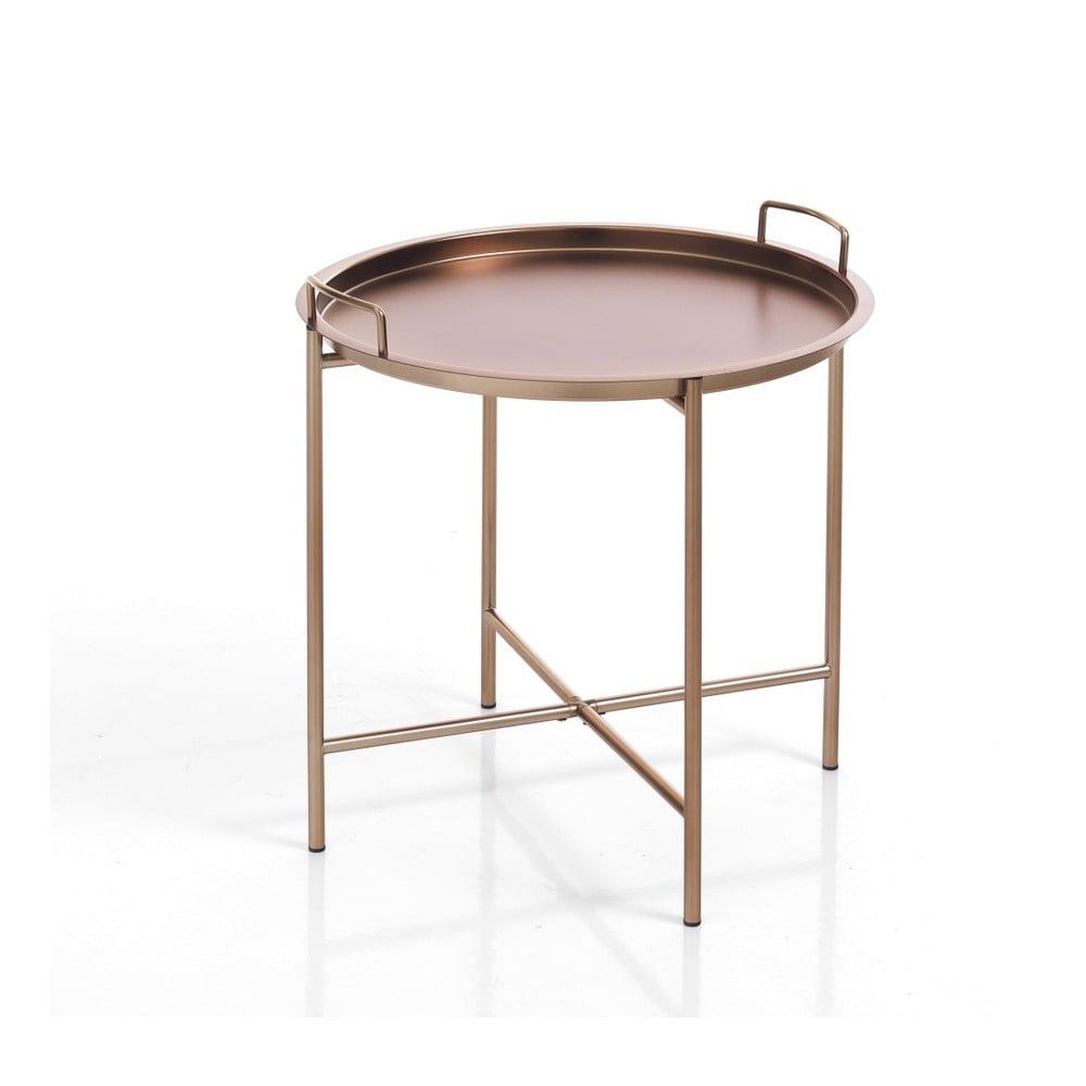 Konferenční stolek v měděné barvě s odnímatelným podnosem Tomasucci Vagna, ⌀ 45cm