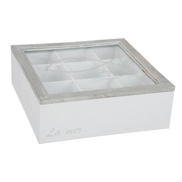 Box na čajové sáčky Fish White, 23x23x8 cm