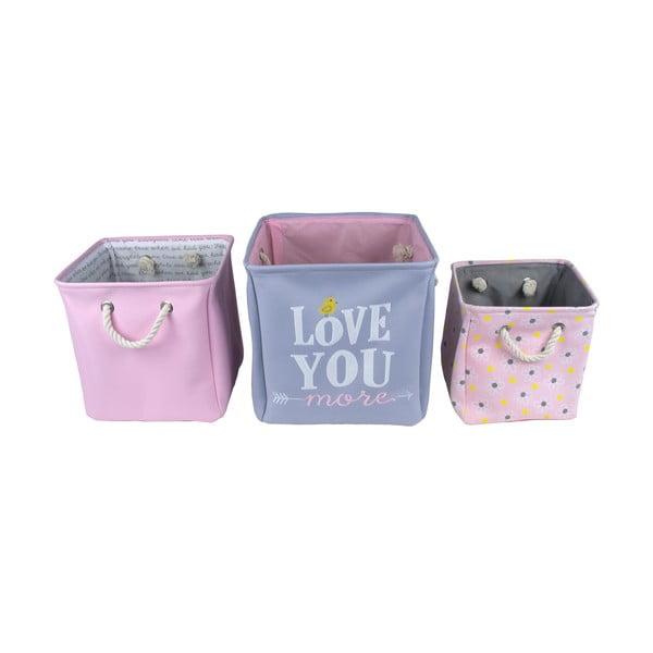 Sada 3 dětských úložných boxů Love You