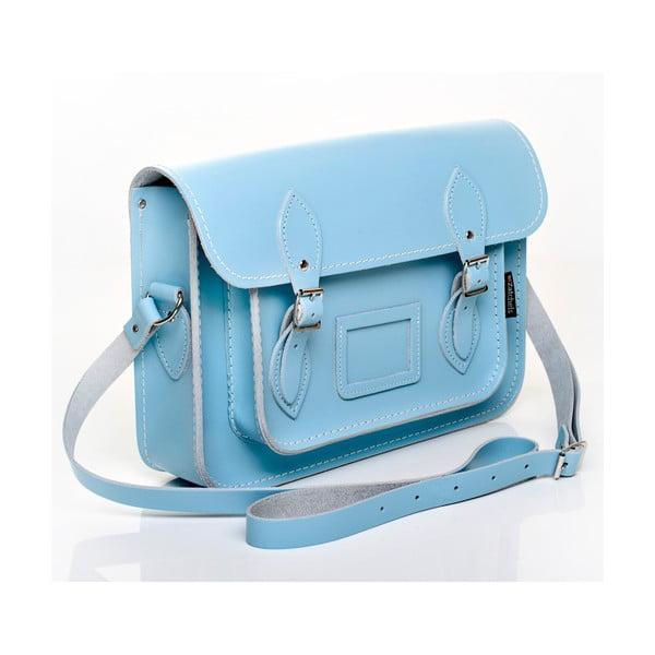 Kožená kabelka Satchel 40 cm, pastelově modrá