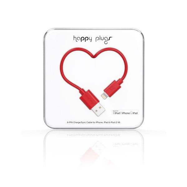 Červený Happy Plugs nabíjecí a datový kabel, 2 metry
