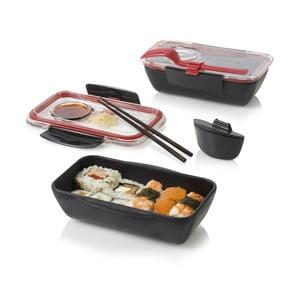 Svačinový box Bento, černočervený