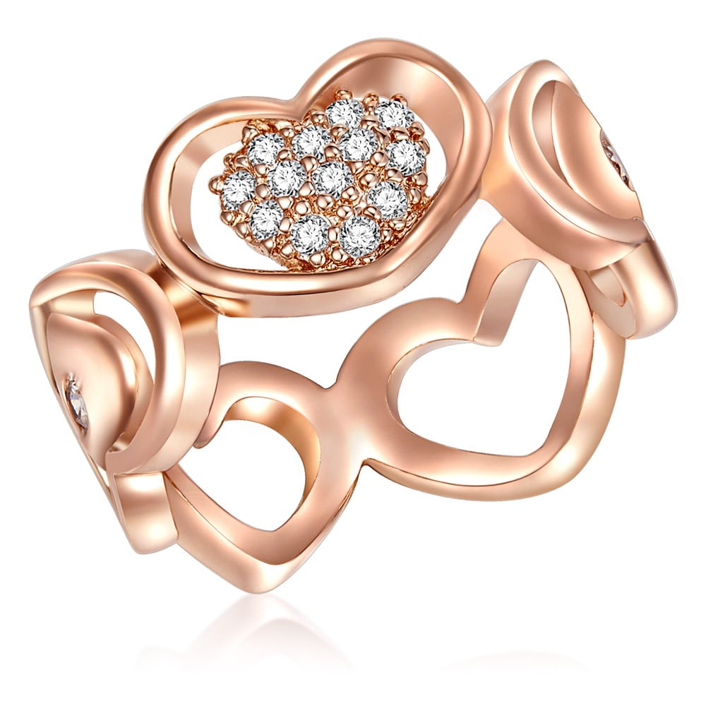 Dámský prsten v barvě růžového zlata Tassioni Lovers, 58
