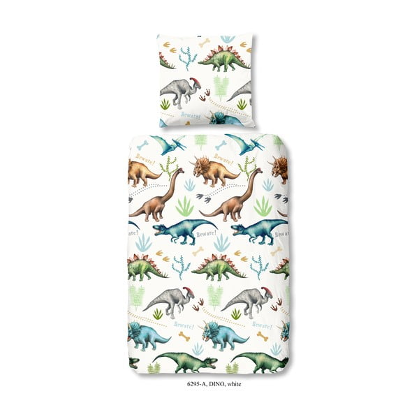 Lenjerie de pat din bumbac pentru copii Good Morning Dino, 140 x 200 cm