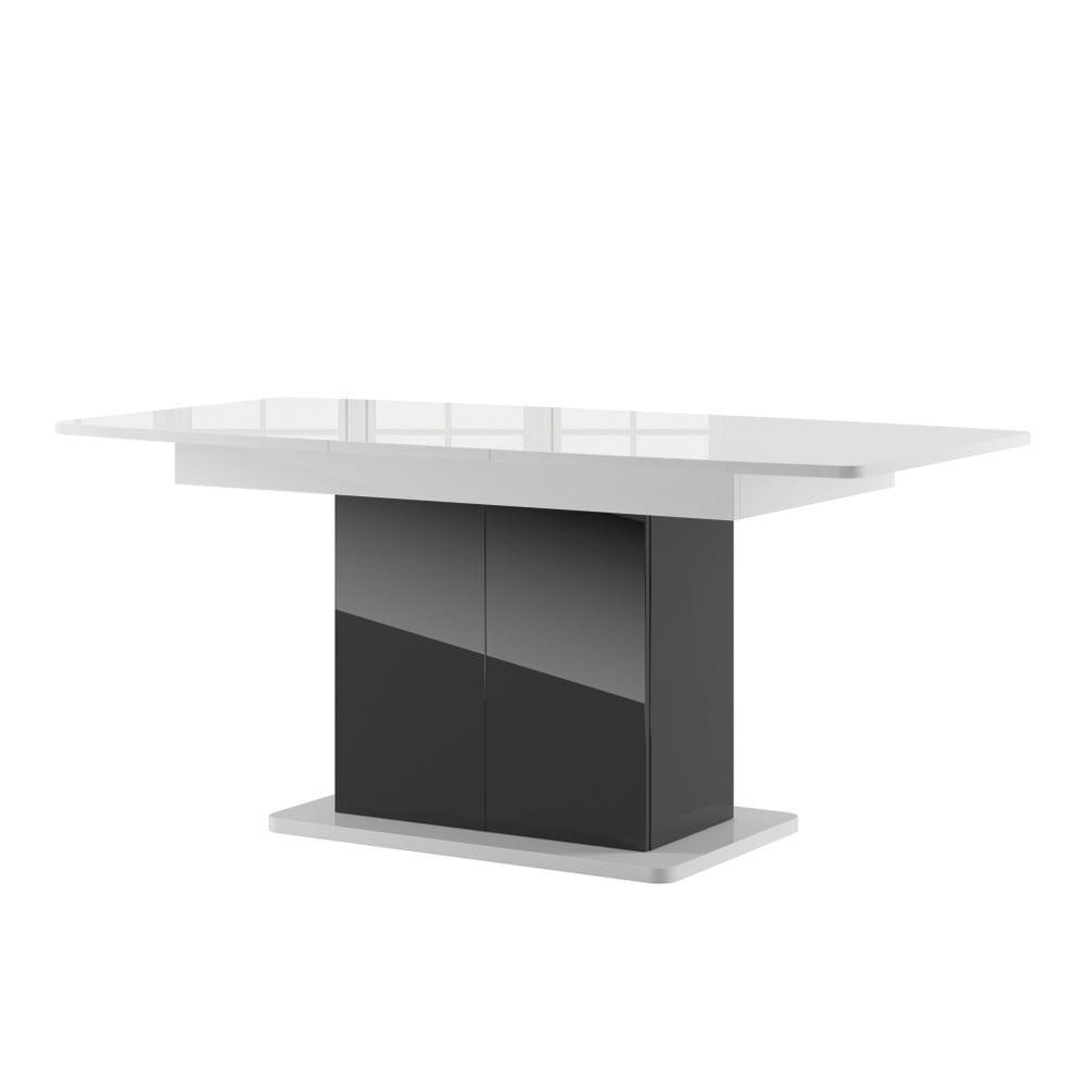 Černý rozkládací jídelní stůl s bílou deskou Szynaka Meble Star