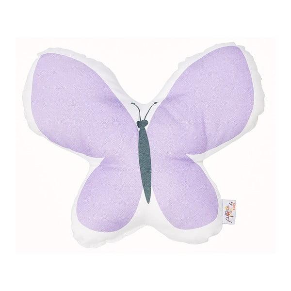 Fialový dětský polštářek s příměsí bavlny Apolena Pillow Toy Butterfly, 26 x 30 cm