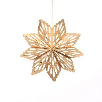 Decorațiune din hârtie pentru Crăciun, formă fulg Only Natural, lungime 15 cm, auriu imagine