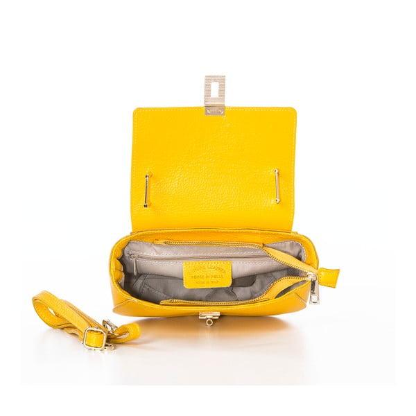 Žlutá kožená kabelka Federica Bassi Virgin