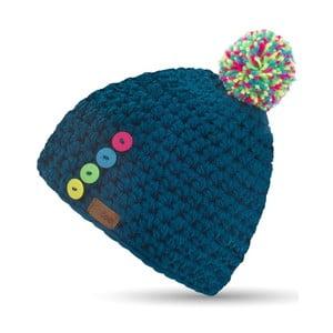Modrá ručně háčkovaná čepice s knoflíky DOKE Blue Short