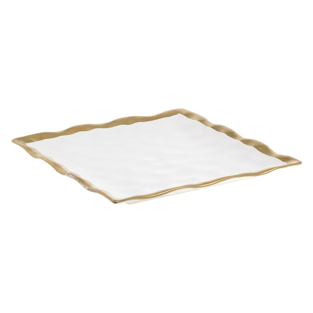 Bílý porcelánový talíř InArt Goldie, 28x28cm