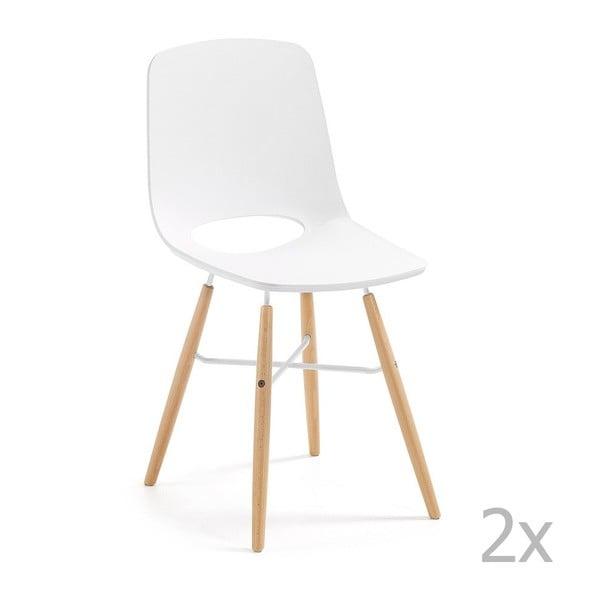 Set 2 scaune cu picioare de lemn La Forma Kint, alb