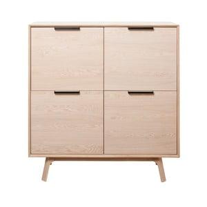 Komoda z bílého dubového dřeva se 4 dvířky Unique Furniture Vivara
