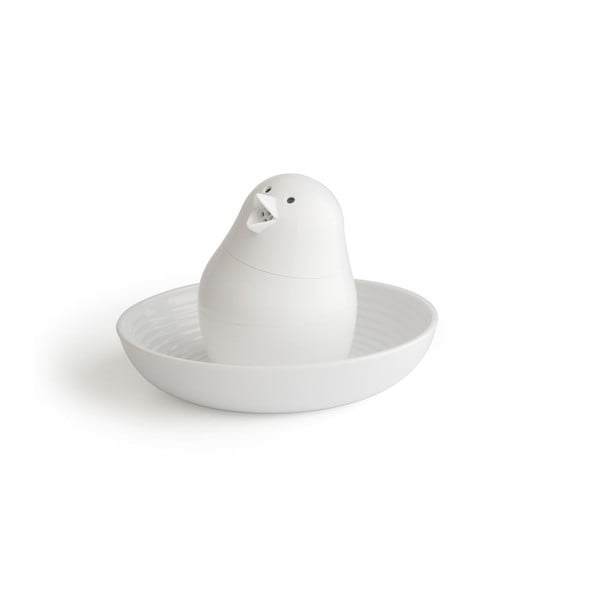 Bílý set stojánku na vajíčko s miskou Qualy&CO Jib-Jib Shaker