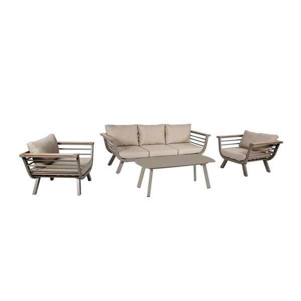 Ogrodowy 4-częściowy komplet mebli wypoczynkowych ze stolikiem aluminiową konstrukcją ADDU Aroa