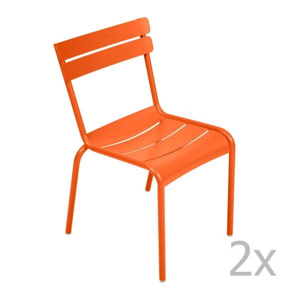 Sada 2 oranžových židlí Fermob Luxembourg