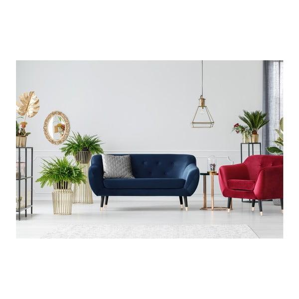 Canapea cu 2 locuri Mazzini Sofas AMELIE cu picioare negre, albastru închis