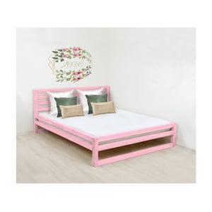 Růžová dřevěná dvoulůžková postel Benlemi DeLuxe, 190x180cm