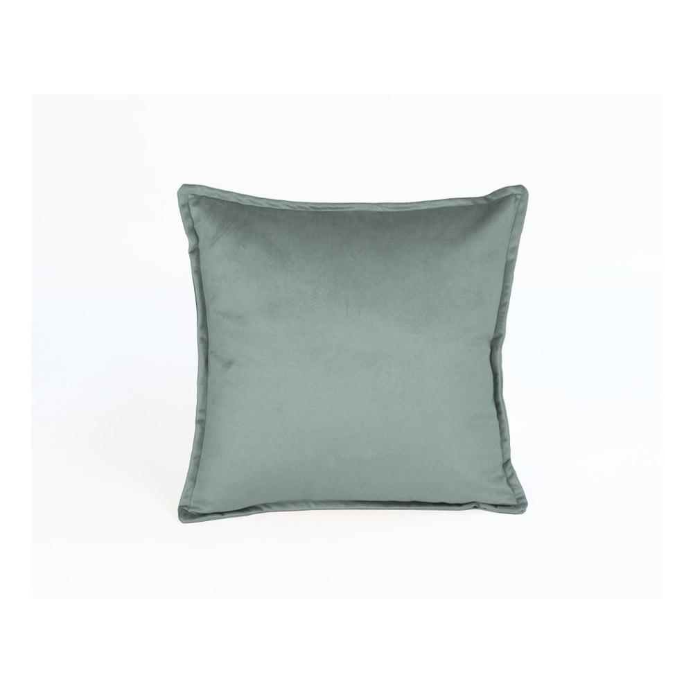 Tyrkysový dekorativní polštář Velvet Atelier Pompos, 45 x 45 cm
