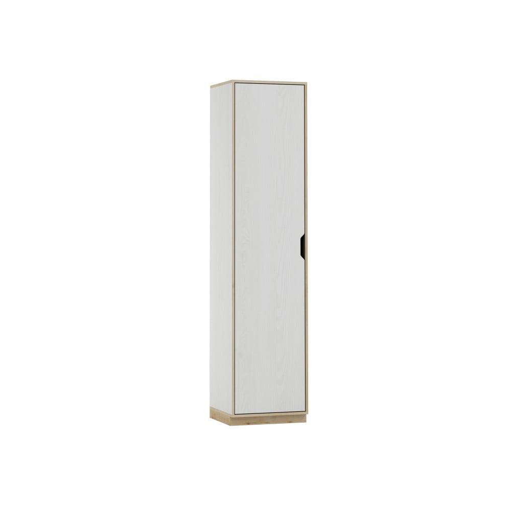 Bílá jednodvéřová šatní skříň s dřevěným dekorem Szynaka Meble Happy