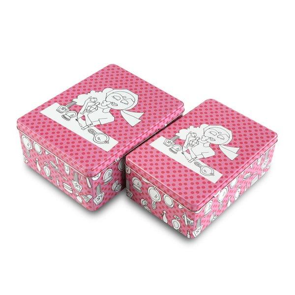 Sada 2 růžových kovových krabic na kosmetiku Versa