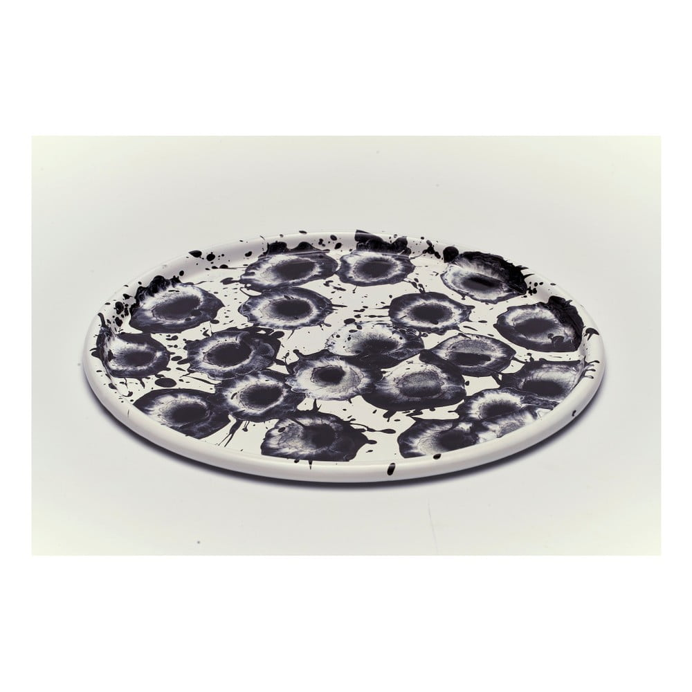Černobílý smaltovaný talíř Kapka Floral Madness, Ø28cm