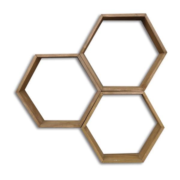 Sada 3 dřevěných nástěnných polic Bee